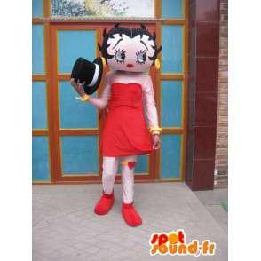 Maskot sjenert jente med rødt skjørt og sort lue - MASFR00698 - Maskoter gutter og jenter