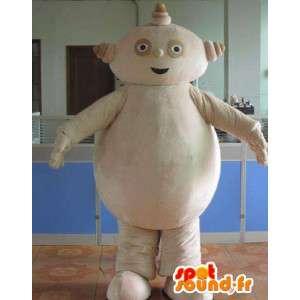 Mascotte bonhomme robot en pierre beige et gros ventre