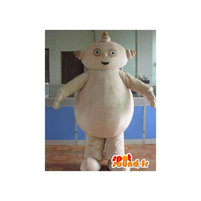 マスコット男ベージュ石のロボットと大きな腹 - MASFR00699 - マンマスコット