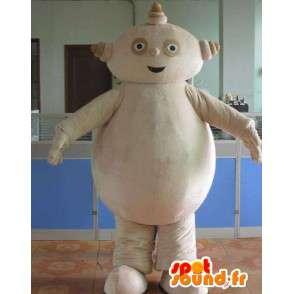 Robot uomo mascotte in pietra beige e pancione - MASFR00699 - Umani mascotte