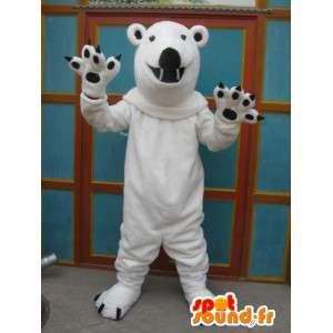Mascotte witte ijsbeer met zwarte klauwen terwijl pluche