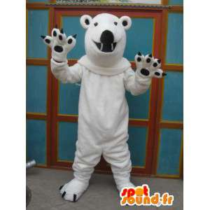 Maskotti valkoinen jääkarhu mustalla kynnet taas muhkeat