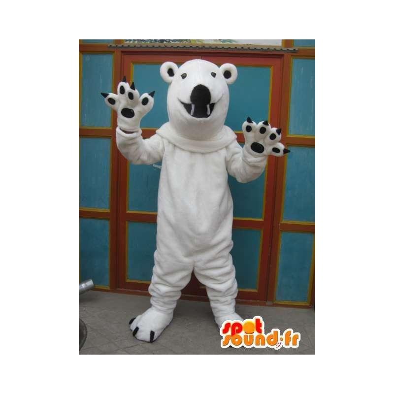 Maskot hvit isbjørn med sorte klør mens plysj - MASFR00700 - bjørn Mascot