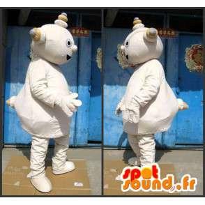 Mascotte bonhomme robot en pierre beige et gros ventre - MASFR00699 - Mascottes Homme