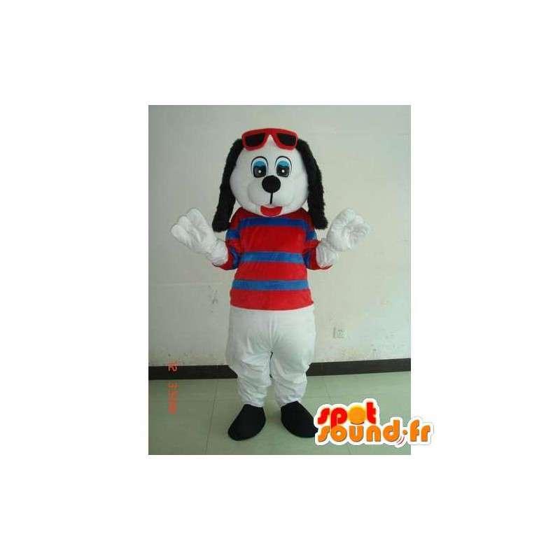 Mascotte chien d'été blanc avec t-shirt rayé et lunettes rouges - MASFR00701 - Mascottes de chien