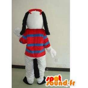Maskottchen-Hund mit Sommer-weiß gestreiften T-Shirt und roten Gläsern - MASFR00701 - Hund-Maskottchen