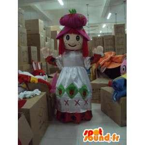 Mascot prinsesse med overdådig hvit kjole og tilbehør