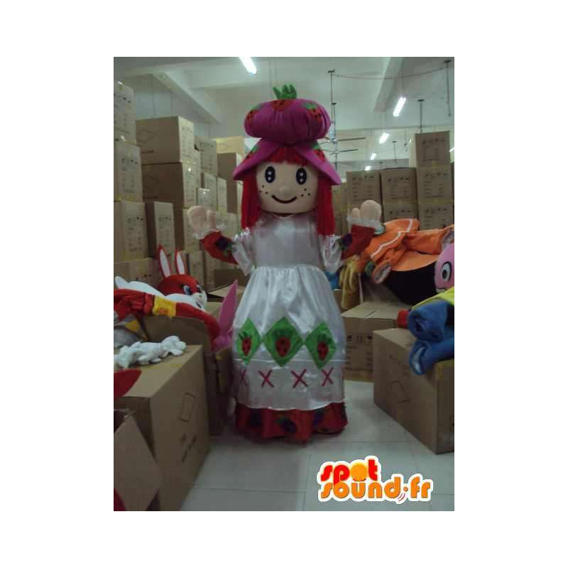 Mascot prinsesse med overdådig hvit kjole og tilbehør - MASFR00703 - Fairy Maskoter