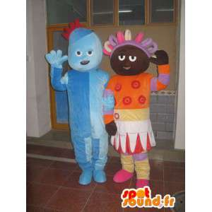Paar van de sneeuwman blauw trol prinses en Afro oranje gekleurd - MASFR00706 - man Mascottes