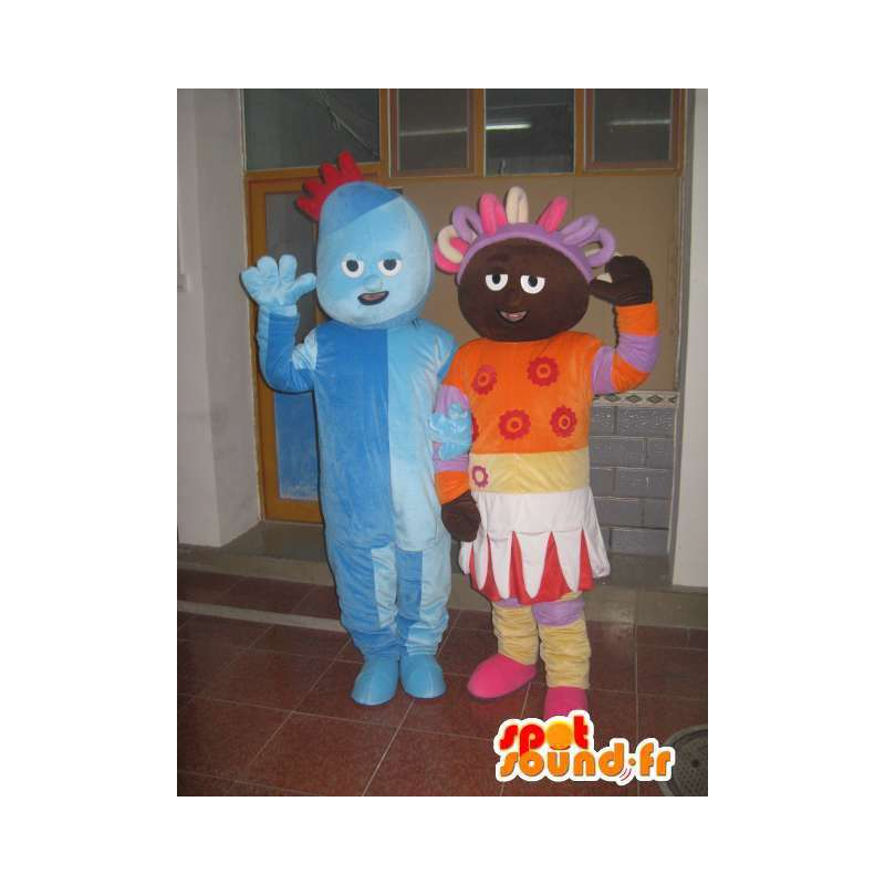 Couple man and troll princess blue colored orange afro - MASFR00706 - Human mascots
