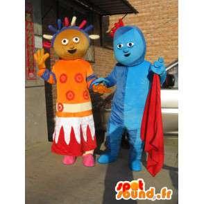 Χιονάνθρωπος ζευγάρι μπλε συρτή πριγκίπισσα και Αφρο χρωματισμένα πορτοκαλί - MASFR00706 - Ο άνθρωπος Μασκότ