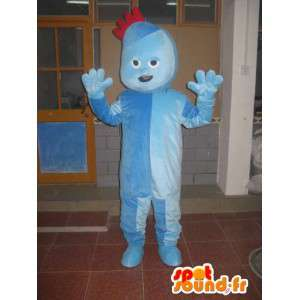 Blå dress troll maskot med liten rød crest