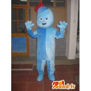 Blauw pak trol mascotte met kleine rode kuif