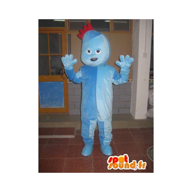 Blauw pak trol mascotte met kleine rode kuif - MASFR00707 - Mascottes 1 Sesame Street Elmo