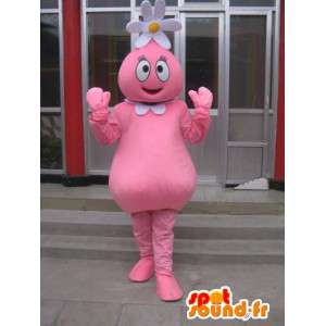 Flower snømann maskot rosa med tusenfryd på hode