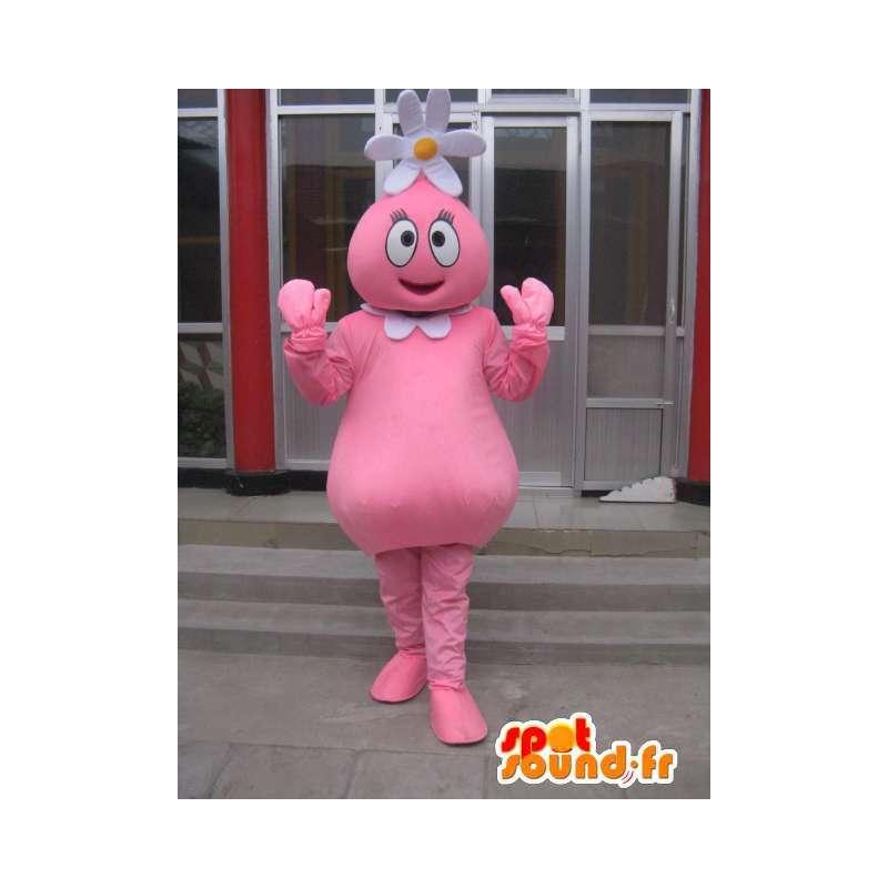 Flower snømann maskot rosa med tusenfryd på hode - MASFR00708 - Man Maskoter