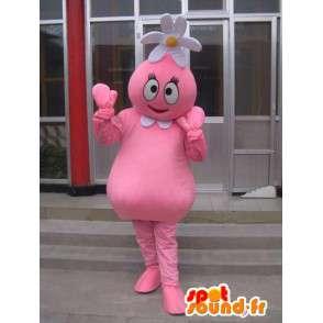Kukka lumiukko maskotti vaaleanpunainen päivänkakkara päähän - MASFR00708 - Mascottes Homme