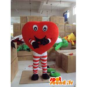 Mascotte de cœur amusant avec jambes en collant rayé rouge