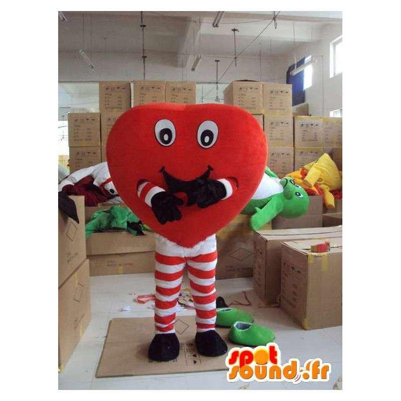 Zabawa maskotka serce z nogami przyklejania paski czerwony - MASFR00713 - Niesklasyfikowane Maskotki