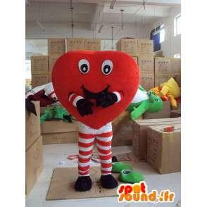 Mascotte de cœur amusant avec jambes en collant rayé rouge - MASFR00713 - Mascottes non-classées