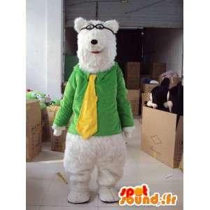 Mascotte ours peluche myope avec cravate jaune sur veste verte