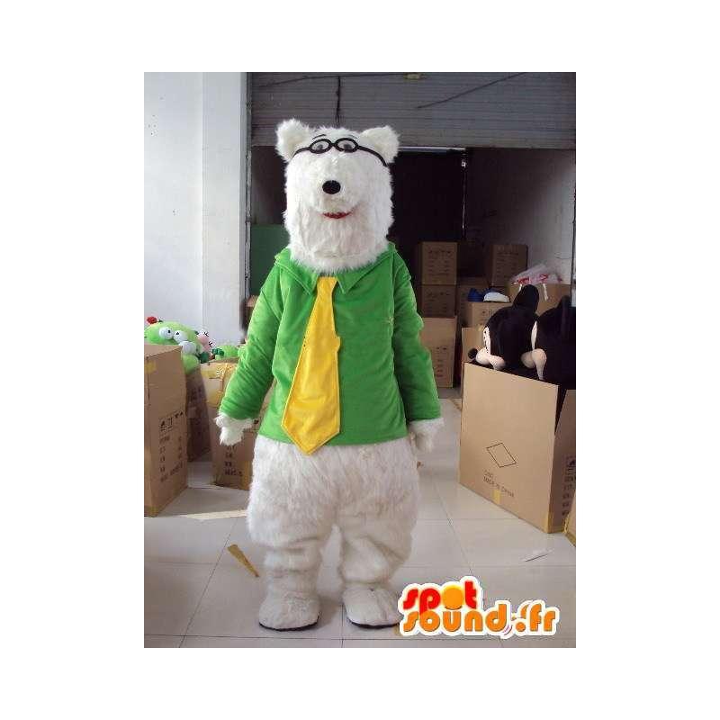 Μασκότ αρκουδάκι με κίτρινο γραβάτα για μυωπική πράσινο σακάκι - MASFR00714 - Αρκούδα μασκότ