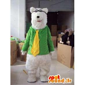 Mascot teddybeer met gele band op bijziend groene jas - MASFR00714 - Bear Mascot