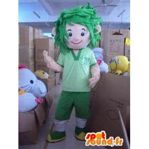 Jugador de fútbol de la mascota con el pelo verde todo en mal estado