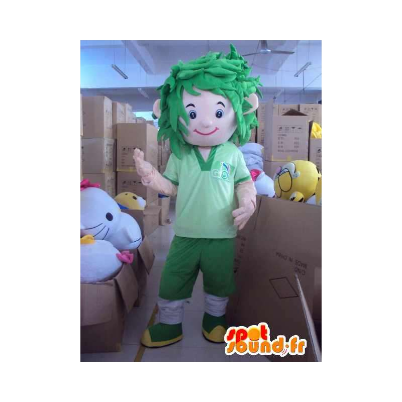 Maskot veškerou zelenou fotbalistu s vlasy v nepořádku - MASFR00716 - sportovní maskot