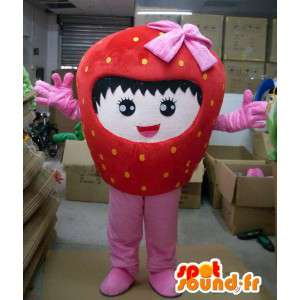 Strawberry mascot character with pink ribbon and girl