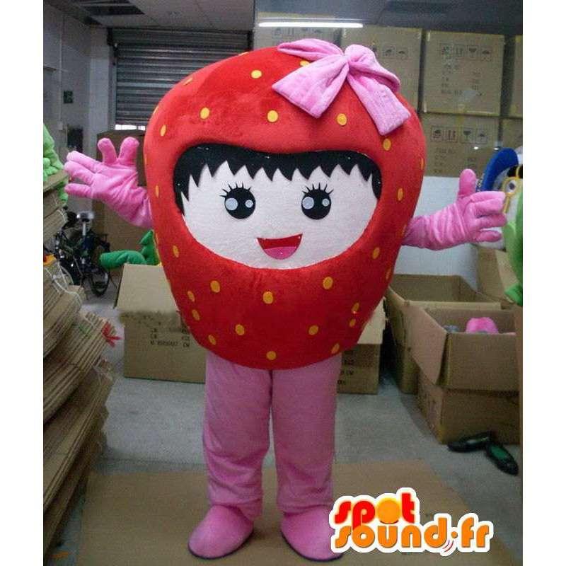 Jahoda maskot s růžovou stuhou a dívka charakteru - MASFR00717 - fruit Maskot