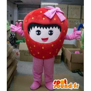 Mascot Erdbeere mit rosa Band und Charakter Mädchen - MASFR00717 - Obst-Maskottchen