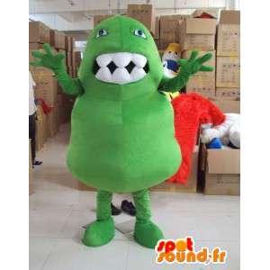 Mascot monstro com grandes dentes estilo trolls para férias