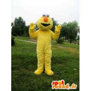 Mascotte monstre en peluche jaune avec fibre et nez orange
