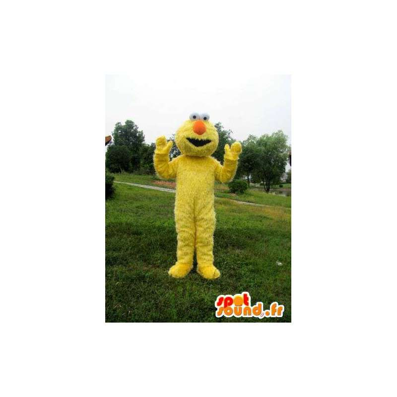 Mascotte monstre en peluche jaune avec fibre et nez orange - MASFR00719 - Mascottes de monstres