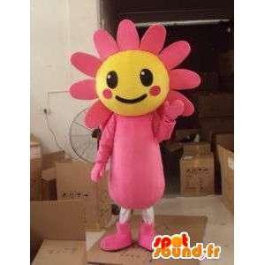 Kukka Daisy Mascot / kasvi pinkki ja keltainen auringonkukka