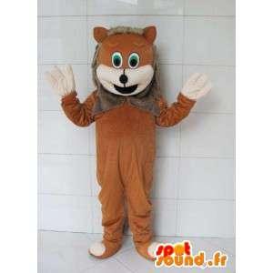 Lion Maskottchen mit grauem Pelz - Kostüm Wald
