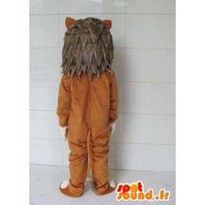Lion Maskottchen mit grauem Pelz - Kostüm Wald - MASFR00721 - Löwen-Maskottchen