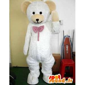Maskotka niedźwiedzia polarnego z bowtie stylowej czerwonej dachówki