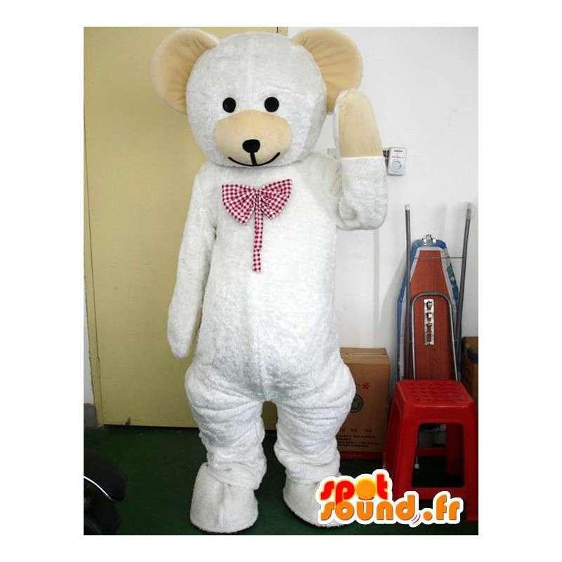 Mascota del oso polar con un elegante baldosas corbata roja - MASFR00722 - Oso mascota
