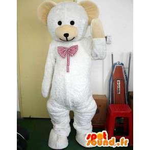 Mascotte ours blanc avec nœud papillon stylé rouge carreau - MASFR00722 - Mascotte d'ours