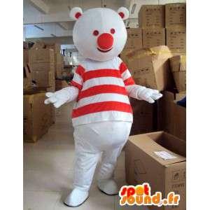 Maskotti punainen ja valkoinen karhu mies raidallinen paita