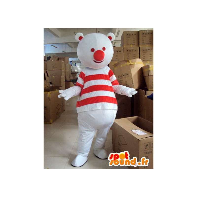 Mascotte bonhomme ours rouge et blanc avec t-shirt rayé - MASFR00723 - Mascotte d'ours