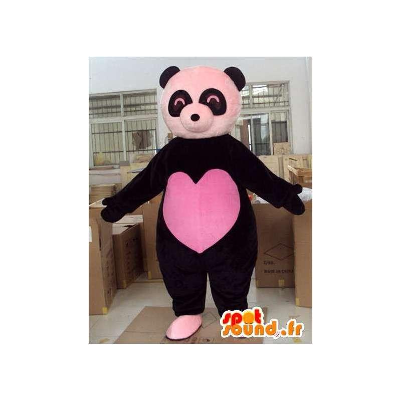 Maskot svartbjørn med store rosa hjerte fullt av kjærlighet i sentrum - MASFR00724 - bjørn Mascot