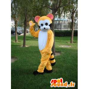 Mascotte de lémurien jaune rayé et noir - Costume de fête