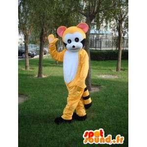 Maskottchen-gelb und schwarz gestreiften Lemur - Kostüm-Party