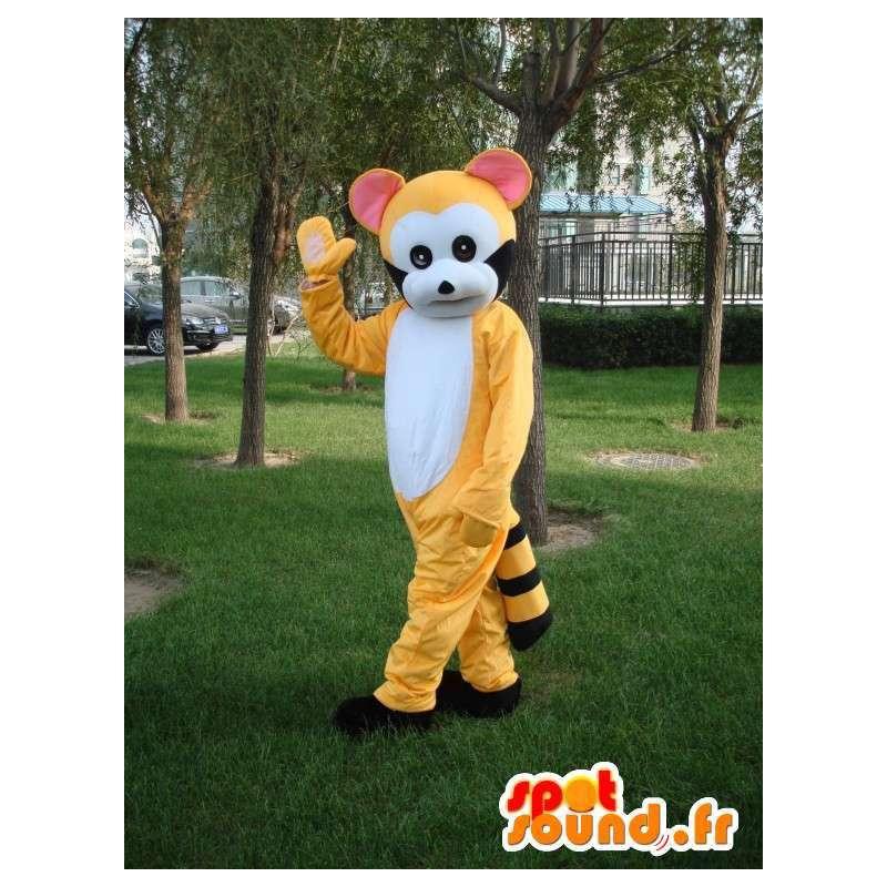 Mascotte de lémurien jaune rayé et noir - Costume de fête - MASFR00725 - Animaux de la jungle