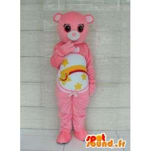 Orso mascotte a righe rosa e stelle cadenti. Personalizzabile