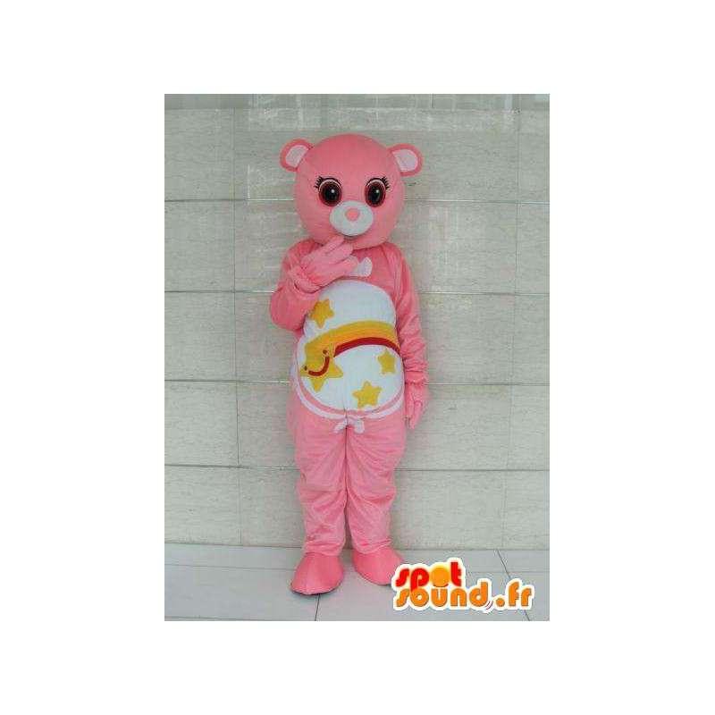 Mascotte ours rose avec rayures et étoile filante. Personnalisable - MASFR00726 - Mascotte d'ours