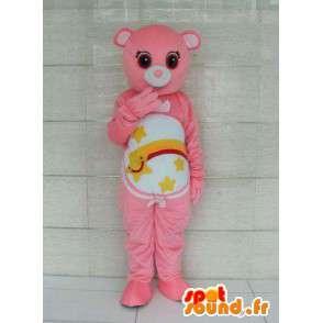 Pink bjørn maskot med striber og stjerneskud. Kan tilpasses -